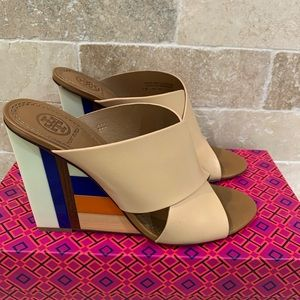 Tory Burch USED Nude/Striped Wedge Heel Sandals